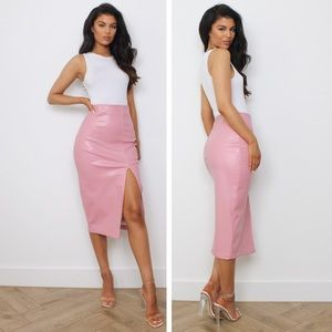 New Missguided Croc Faux Leather Midi Skirt Blush